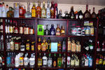 A variety of rums and tequeilas in the Ship's Store